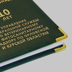 металлические уголки в книге